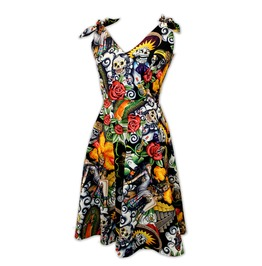 Retro Rockabilly Day Of The Dead Dress Sugar Skulls
