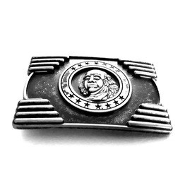 Unique Metal Embossed George Washington Belt Buckle With Star Design