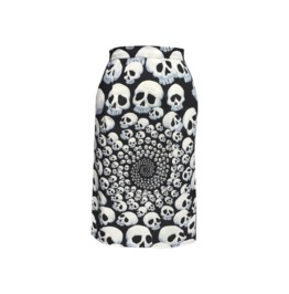 Rockabilly Tattoo Skull Pencil Skirt