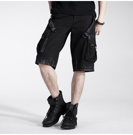 Punk Black Washed Denim Cargo Shorts For Men