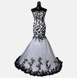 Gothic Wedding Dress Black White Fantasy Gown Made To Measure Handmade Uk