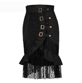 Lace Buckle Rivets Asymmetric High Low Bodycon Goth Punk Womens Midi Skirt