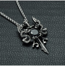 Men's Punk Skull Dragon Black Gem Sword Pendant Necklace