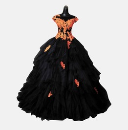 Gothic Wedding Dress Halloween Orange Gown Made To Measure Handmade Uk