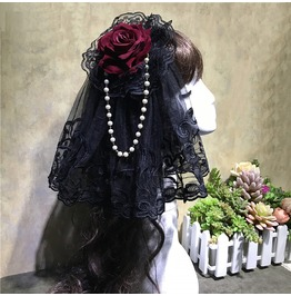 Rose Pearl Rosary Harajuku Goth Lace Victorian Embroided Womans Hairband