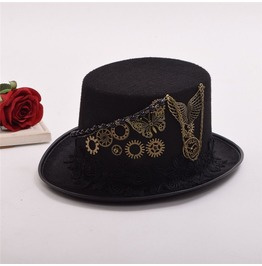 Steampunk Gears And Wings Cosplay Black Top Hat