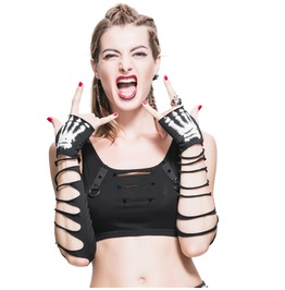 Punk Goth Skeleton Ripped Fingerless Women Gloves