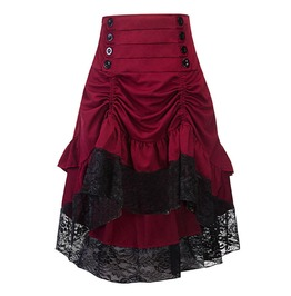 High Waist High Low Lace And Buttons Details Womens Red Skirt