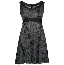 Punk Rock Sleeveless Skater Midi Dress With Skull Print Women's Dress