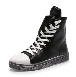 Diagonal Lace Up And Zipper Leather Men Casual Shoes