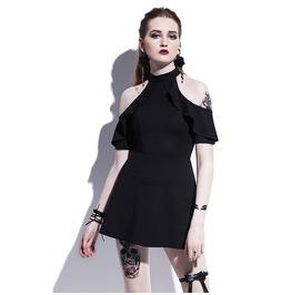 Preppy Exposed Shoulder Mini Skater Dress Womens Black Dress