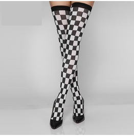 Thigh High Stockings With Checkers Print Women's Hosiery