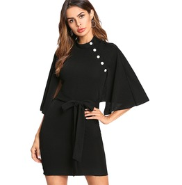 High Fashion Women's Buttoned Cloak Sleeve Mini Dress