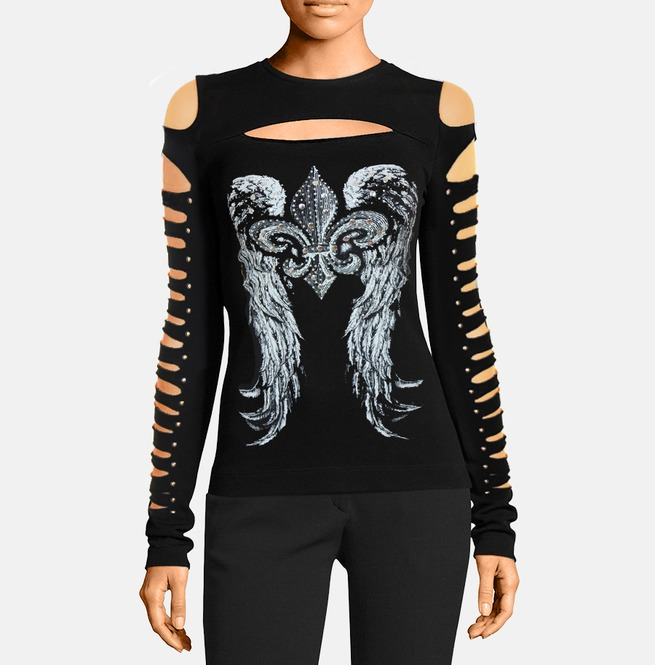 5fb45a4ab49e Dark Forest Sexy Punk Hollow Out Long Sleeve Top Dress