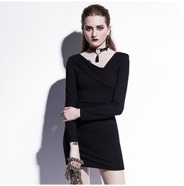 Asymmetric Goth Oblique Neck Long Sleeves Bodycon Summer Mini Womens Dress