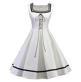 Sailor Lolita Harajuku Lace Up Skater White Goth Womens Dress