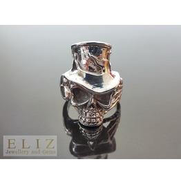 Handmade Top Hat Slash Skull .925 Sterling Silver Rocker Biker Goth Ring