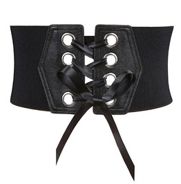 Lace Up Front Bowknot Rivets Goth Womens Waist Belt Accessories