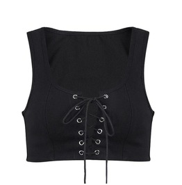 Lace Up Rivets Sleeveless Sexy Goth Womens Crop Tank Top