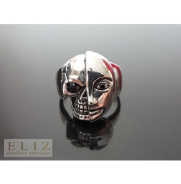 .925 Sterling Silver Two Face Skull Mask Ring Black Cz Eye Exclusive