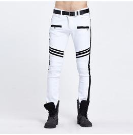 Biker Black & White Zipper Men Pant