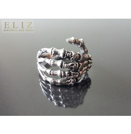 .925 Sterling Silver Keleton Bones Hand With Skull Knuckles Ring Biker