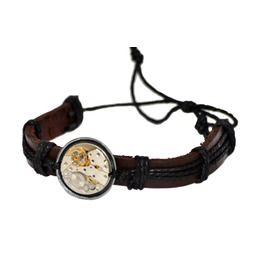 Leather And Cord Steampunk Watch Movement Bracelet. Hand Made In Cornwall,