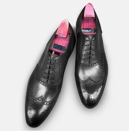 Handmade Men Black Formal Wingtip Shoes, Men Spectator Black Dress Shoes