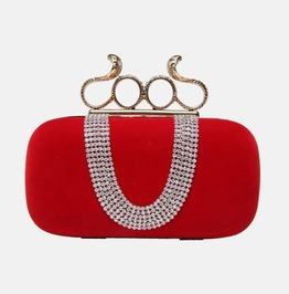 Crystal Studded Bright Red Evening Handbag