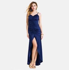 Ruffles Backless Split Halterneck Maxi Dress