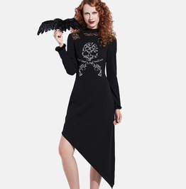 Skulls And Guns Print Asymmetric Dress