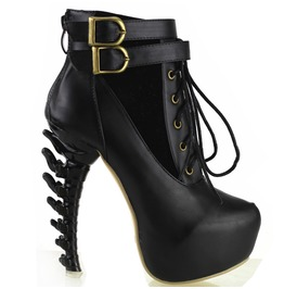 Bone High Heel Lace Up Buckle Straps Women Boots