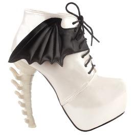 Bone High Heel Lace Up Bat Wings Women Boots