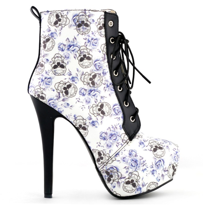 fec2de0f23b4dc High Heel Skull Print Lace Up Women Boots
