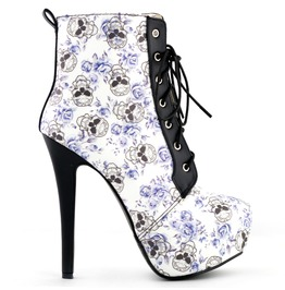 High Heel Skull Print Lace Up Women Boots