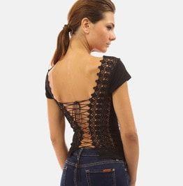 c32c9347407 Summer Women s Sexy Crisscross Lace Back Plain Black T Shirt
