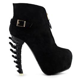 Bone High Heel Front Zipper Buckle Straps Women Boots