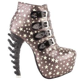 Bone High Heel Star Print Buckle Straps Women Boots