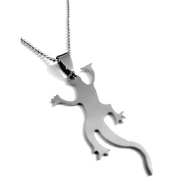 Unique! Stainless Steel Lizard Newt On Ball Chain Necklace