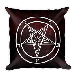 Red Pentagram Throw Pillow