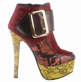 High Heel Patchwork Snake Print Extra Large Buckle Strap Women Boots