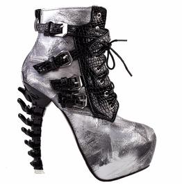Bone High Heel Gray Brush Snake Pattern Buckle Straps Women Boots