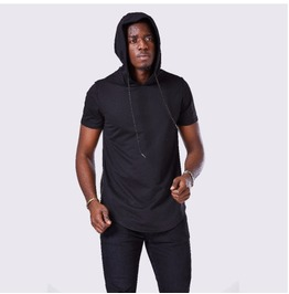 Streetwear Goth Side Zipper Hooded Mens T Shirt Top
