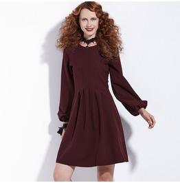 Burgundy Goth Long Lantern Sleeve Vintage Autumn Midi Womens Dress