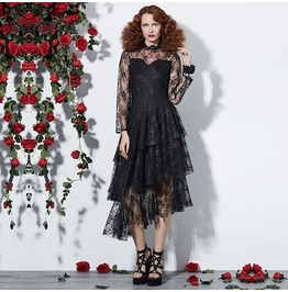 See Though Lace Embroided Asymmetric Long Sleeve Floral Goth Womens Dress