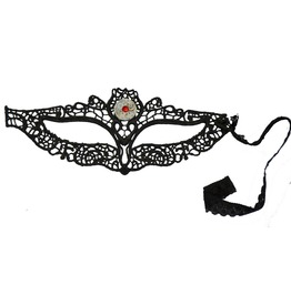 Black Lace Steampunk Owl Eye Mask Containing A Genuine Ornamental Mechanica