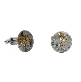 Pair Of Round Steampunk Watch Movement Cufflinks