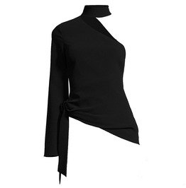Asymmetric Hollow Long Sleeve Cut Out Bodycon Sexy Womens Top