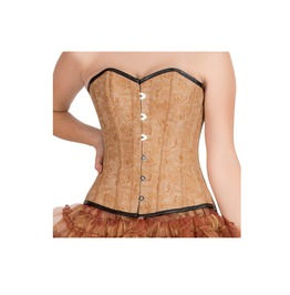Printed Brown Leather Black Piping Gothic Steampunk Bustier Overbust Corset