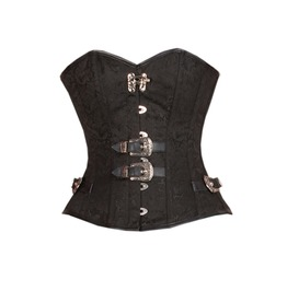 Black Brocade Leather Piping Gothic Steampunk Waist Training Overbut Corset